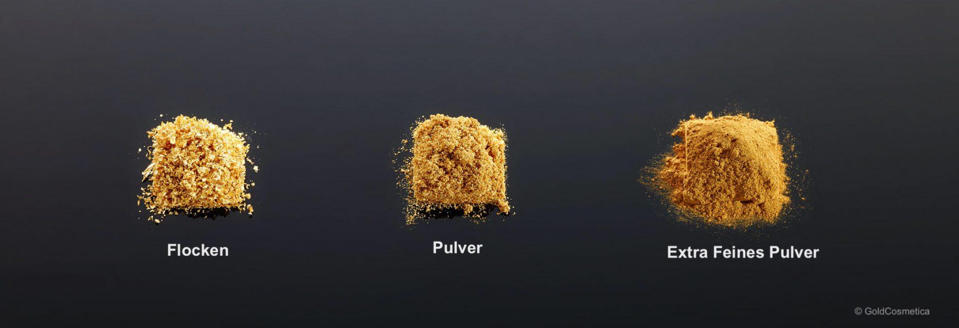 Goldflocken, Pulver und extra feines Pulver