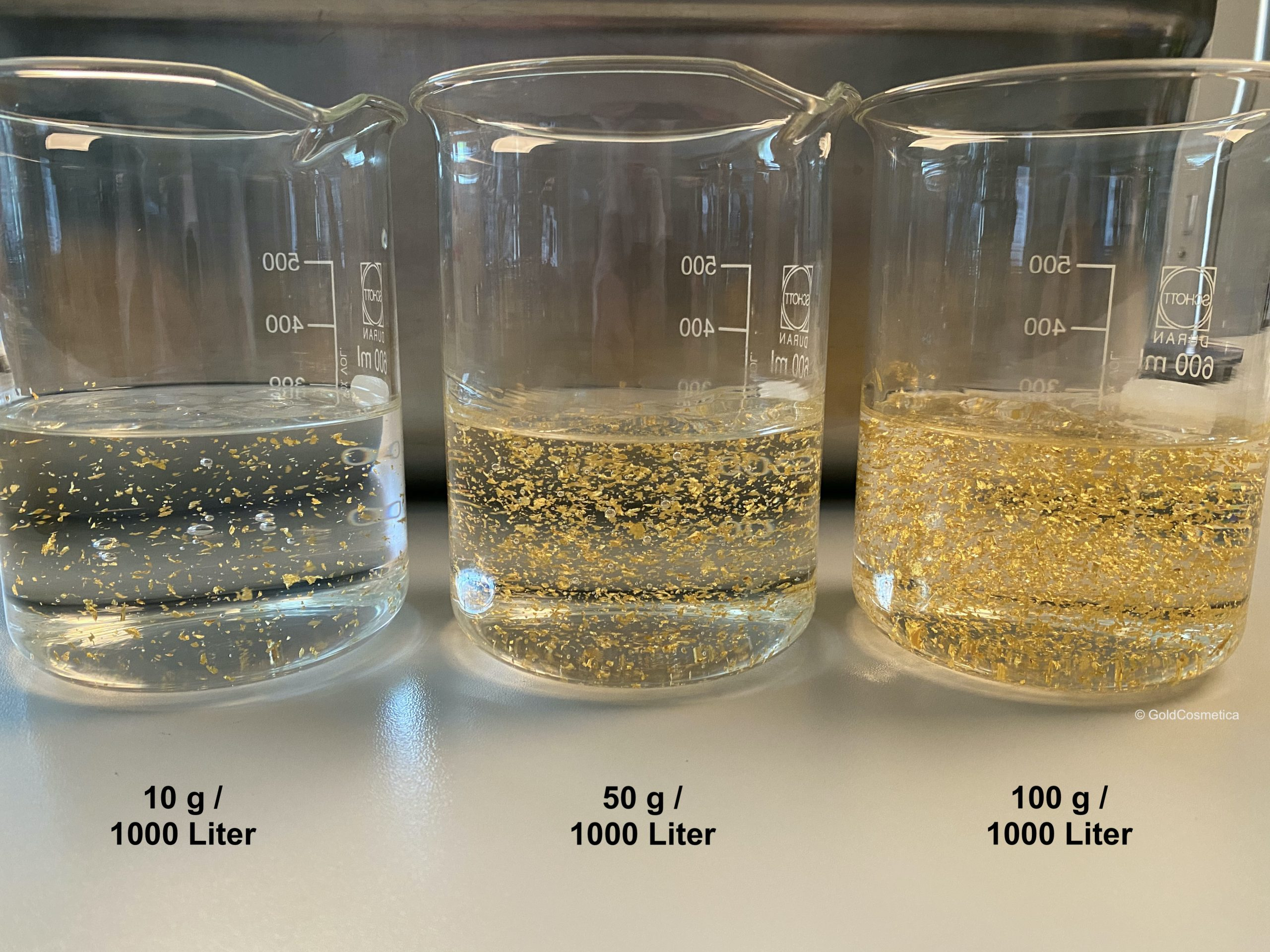Gold Flocken in Serum Mischverhältnis