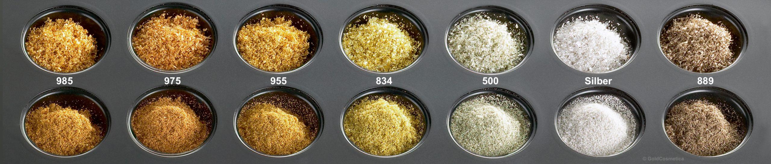 Kosmetische Rohstoffe Gold Silber Platin Farben